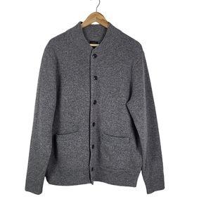 J. Crew 100% Lambs Wool Bomber Sweater Gray Large